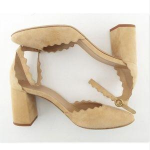 Chloe Shoes - Unworn Chloé Beige Scalloped Suede Block Heel 38.5